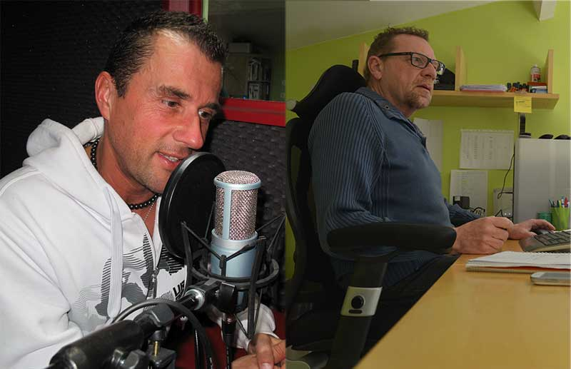 Thierry Jamin et Alain Bonnet dans les studios de Jungle Doc Productions